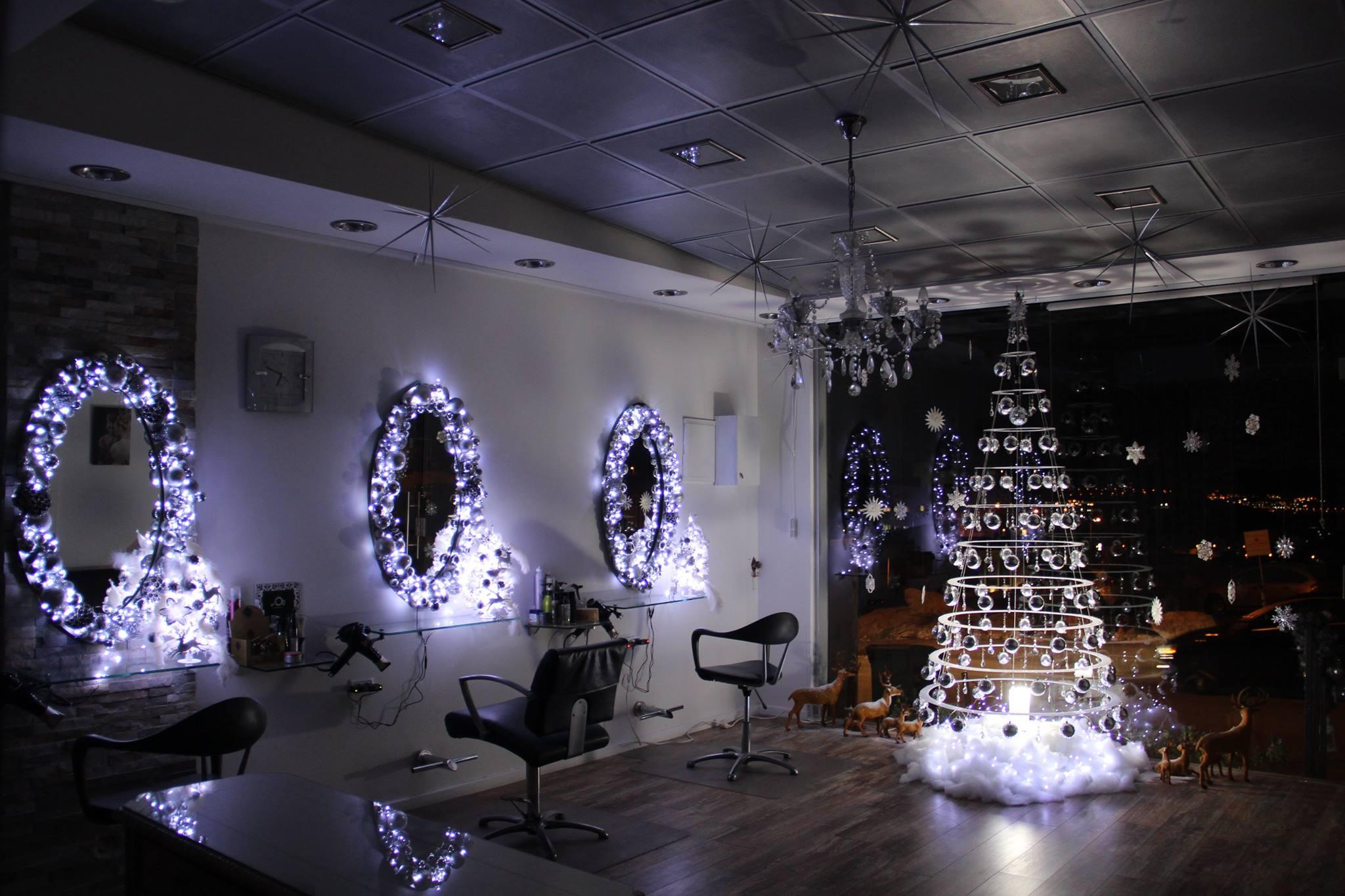 O2 beauty salon israel modern christmas tree hanging decor for Salon xmas decorations