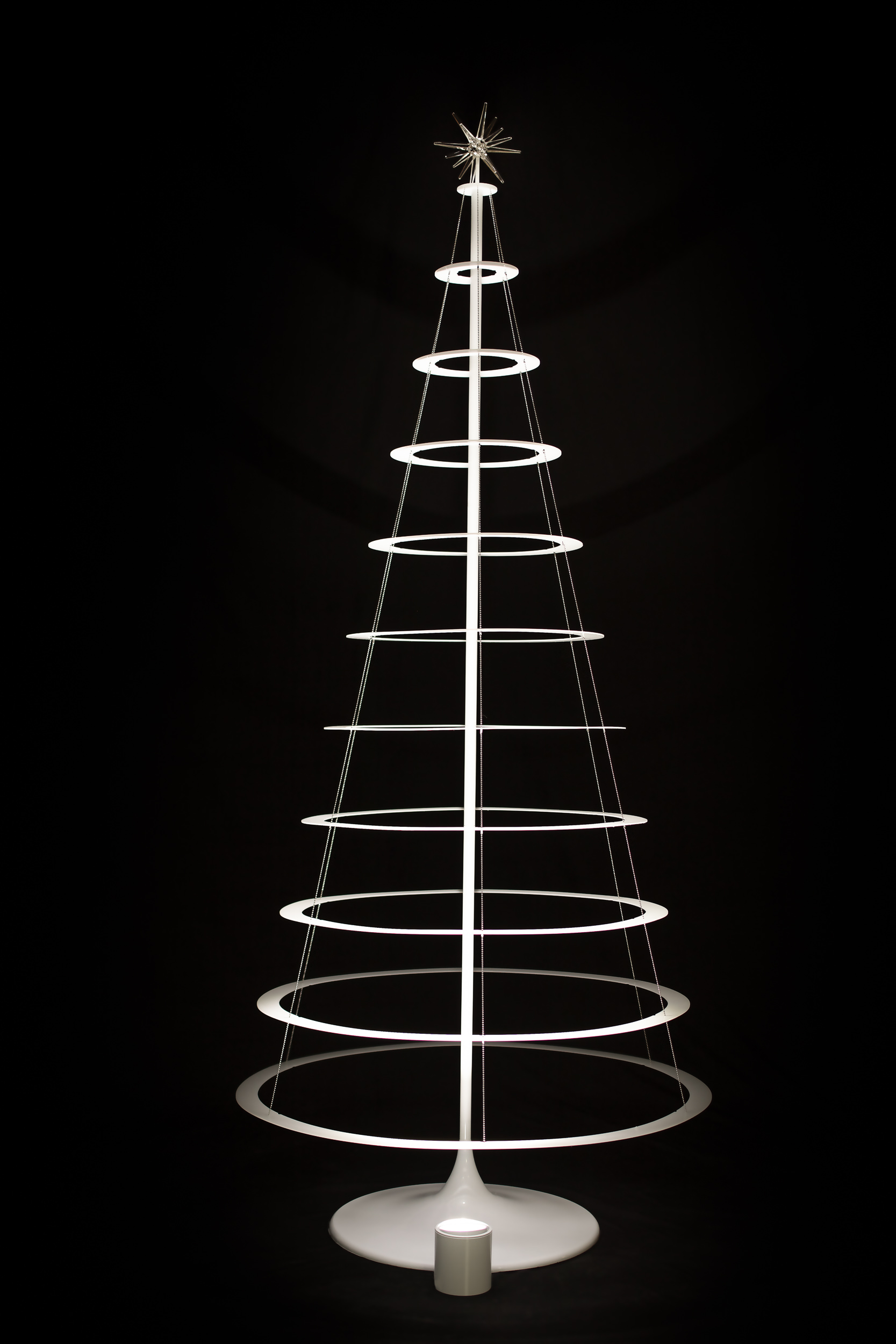 undecorated pearl white modern christmas tree with stand