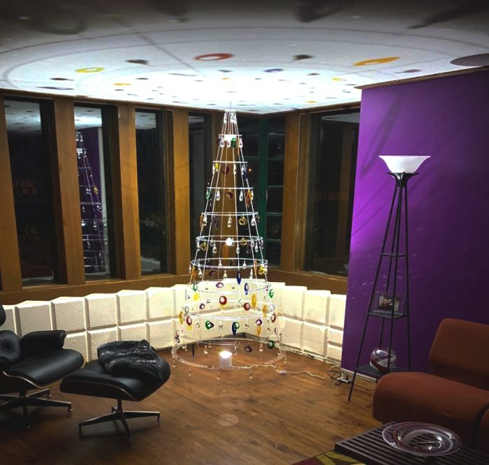 Clear Modern Christmas Tree with Rainbow Ornaments