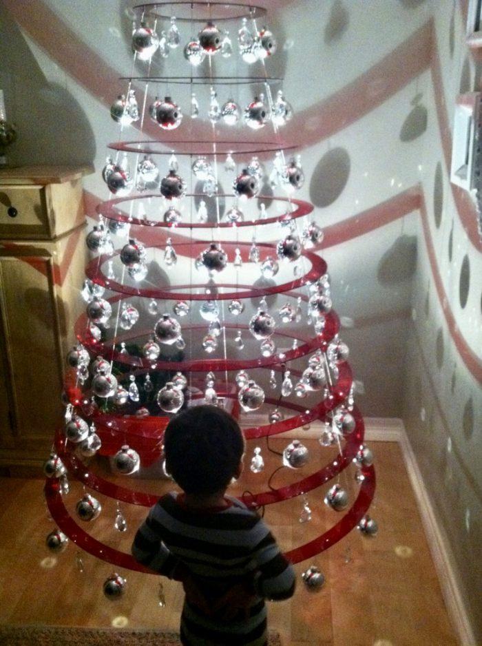 Red Illuminating Christmas Tree