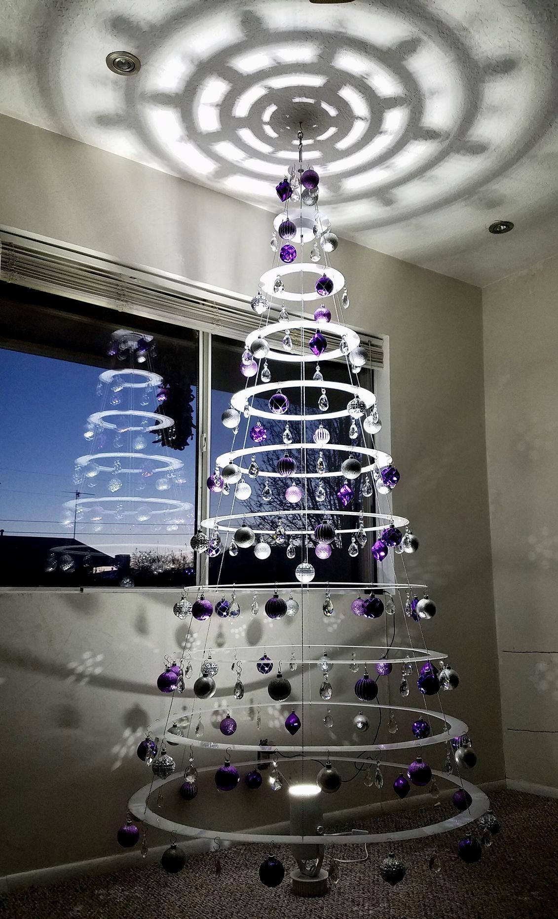 pearl white hanging modern christmas tree