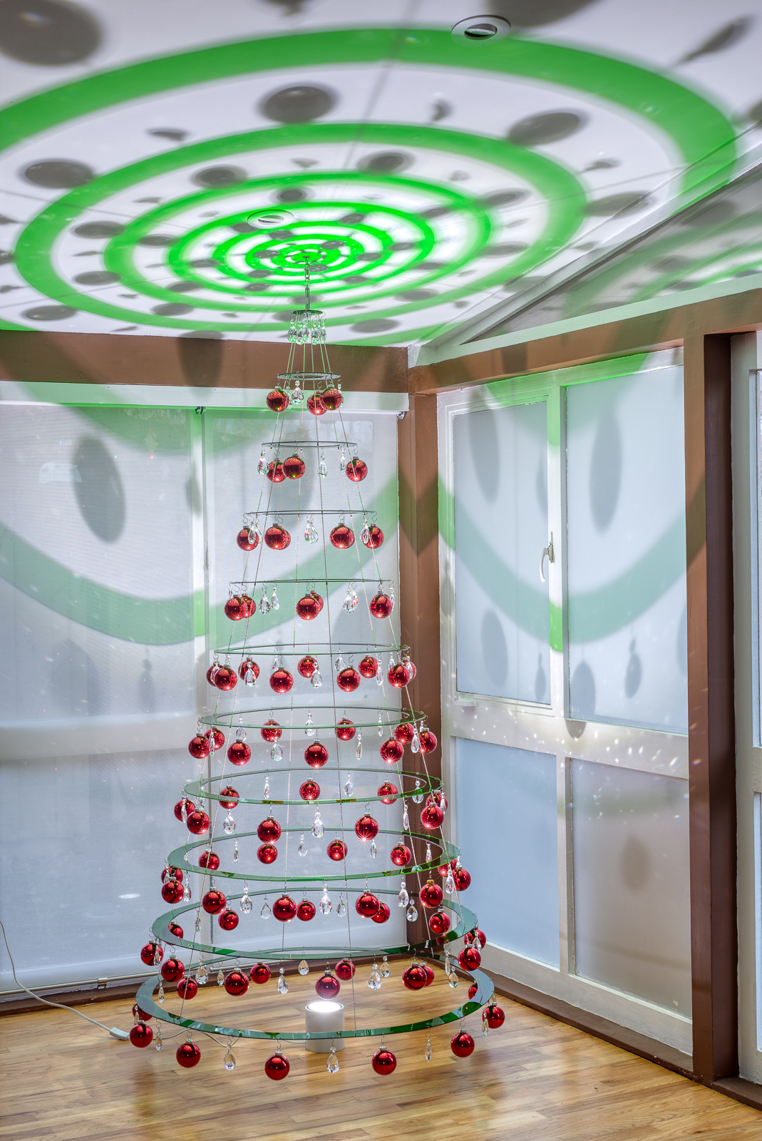 Emerald Green Christmas Tree with Red Ornaments